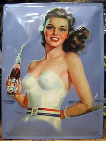 ペプシコーラ エンボス看板 ティンサイン アメリカン雑貨の画像