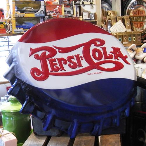 ペプシコーラ エンボス王冠型看板 ティンサイン アメリカン雑貨の画像
