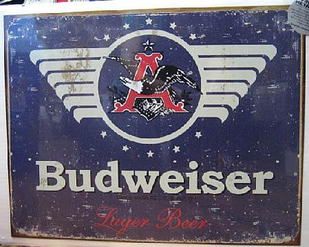 バドワイザー ブリキ看板 ティンサイン アメリカン雑貨の画像
