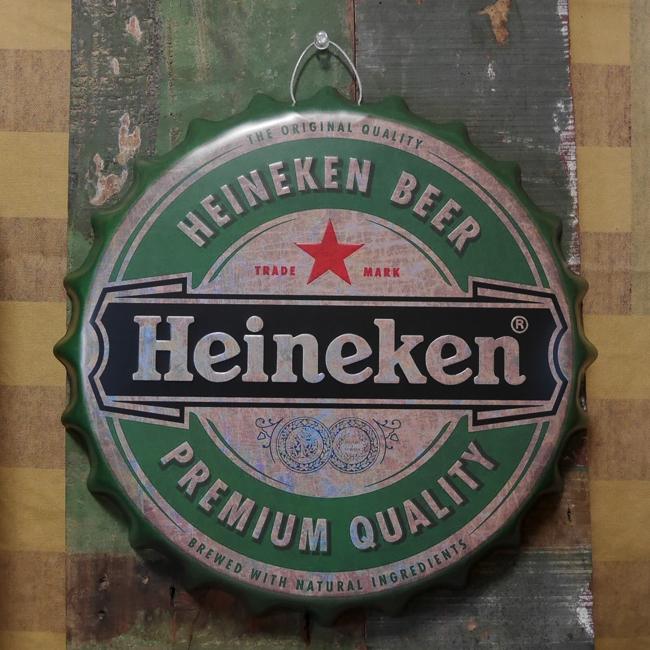 ハイネケン エンボス ボトルキャップサイン Heineken インテリア ボトルキャップ型 ブリキ看板 アメリカン雑貨の画像