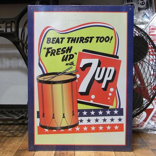 セブンアップ 7UPブリキ看板 ティンサイン アメリカン雑貨の画像