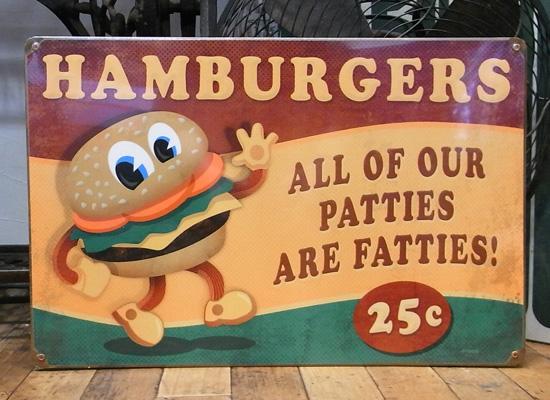 ハンバーガースティール看板  ヴィンテージティンサイン アメリカン雑貨画像