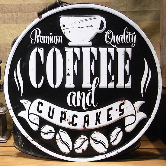 ダイカット エンボス プレート COFFEE ブリキ看板 ティンサイン アメリカン雑貨の画像