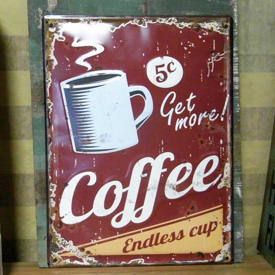 エンボスフードサイン コーヒー COFFEE ブリキ看板 ティンサイン アメリカン雑貨の画像