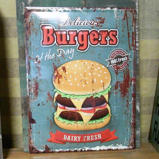 エンボスフードサイン ハンバーガーブリキ看板 ティンサイン アメリカン雑貨の画像