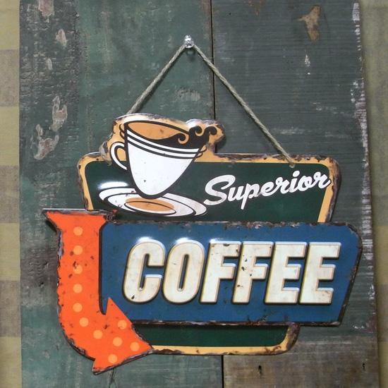 エンボスフードサイン コーヒーブリキ看板 ティンサイン アメリカン雑貨の画像