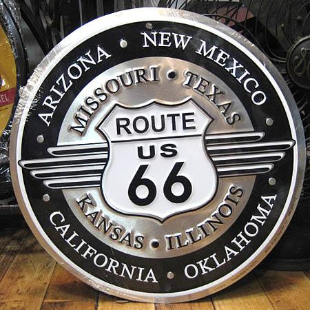 エンボス ルート66サークルプレート アルミ看板 サインプレート アメリカン雑貨の画像