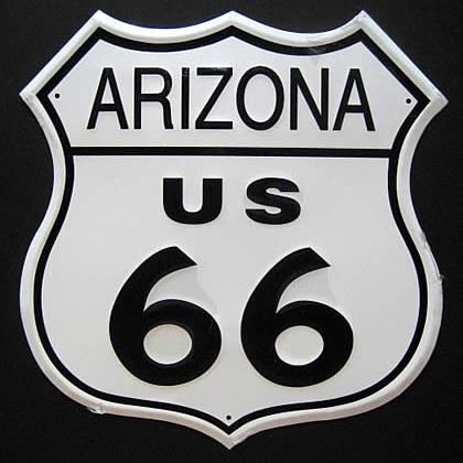 ルート66プレート アリゾナブリキ看板 ティンサイン アメリカン雑貨の画像