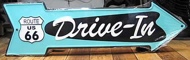 ルート66プレート アロー型看板 ティンサイン アメリカン雑貨画像