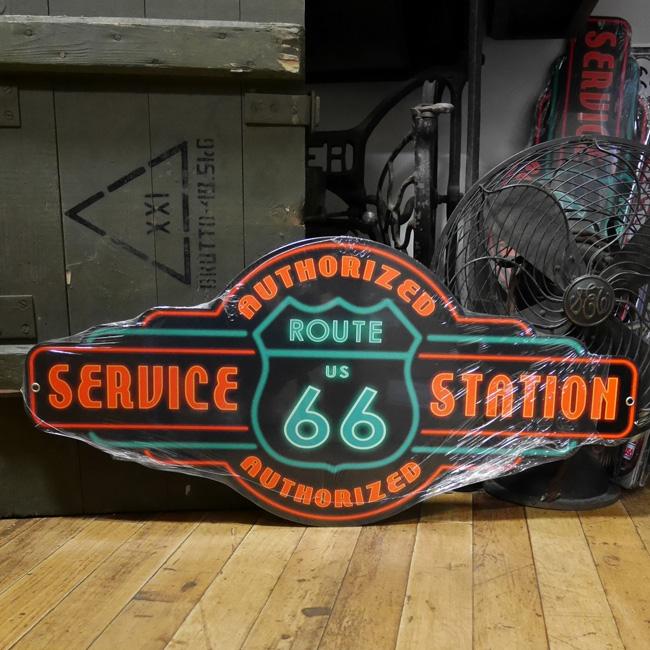 ルート66スティールサイン看板 サービスステーション ティンサイン アメリカン雑貨の画像