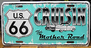 ルート66ライセンスプレートマザーロード ナンバープレートサイズ ティンサイン アメリカン雑貨の画像