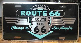 ルート66ライセンスプレート ナンバープレートサイズ ティンサイン アメリカン雑貨画像