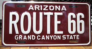 ルート66ライセンスプレート アリゾナ ナンバープレートサイズ ティンサイン アメリカン雑貨画像