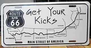 ルート66ライセンスプレート GET YOUR KIEKS ナンバープレートサイズ ティンサイン アメリカン雑貨の画像