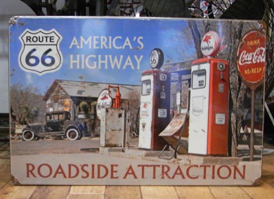 ルート66スティールサイン看板 アメリカンハイウェイ ティンサイン アメリカン雑貨の画像