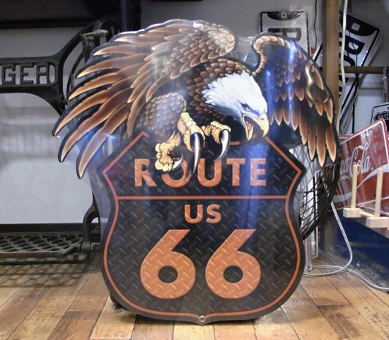 ルート66スティールサイン看板 ルート66 イーグル ティンサイン アメリカン雑貨の画像