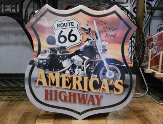ルート66スティールサイン看板 アメリカンハイウエイ ティンサイン アメリカン雑貨画像