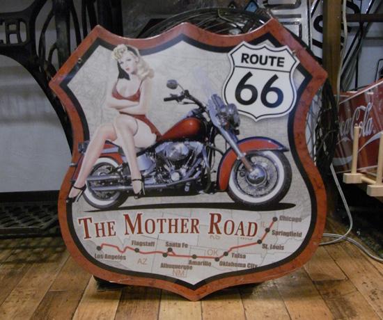 ルート66スティールサイン看板 ピンナップルート66 ティンサイン アメリカン雑貨の画像