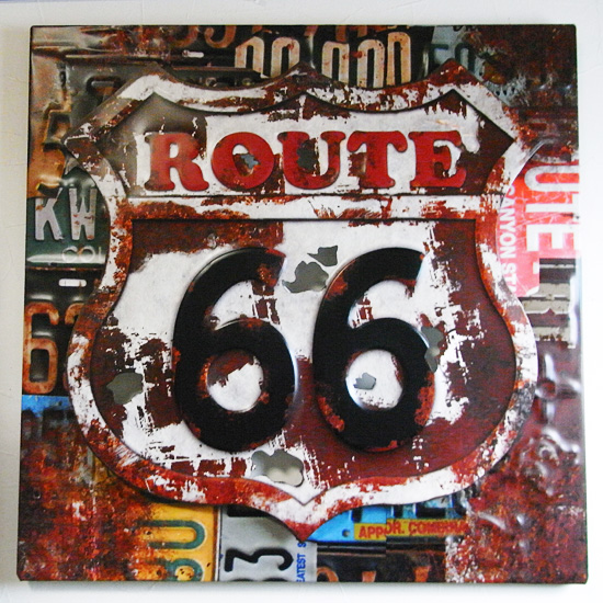 ルート66スティールサイン看板 アートサイン ティンサイン アメリカン雑貨の画像