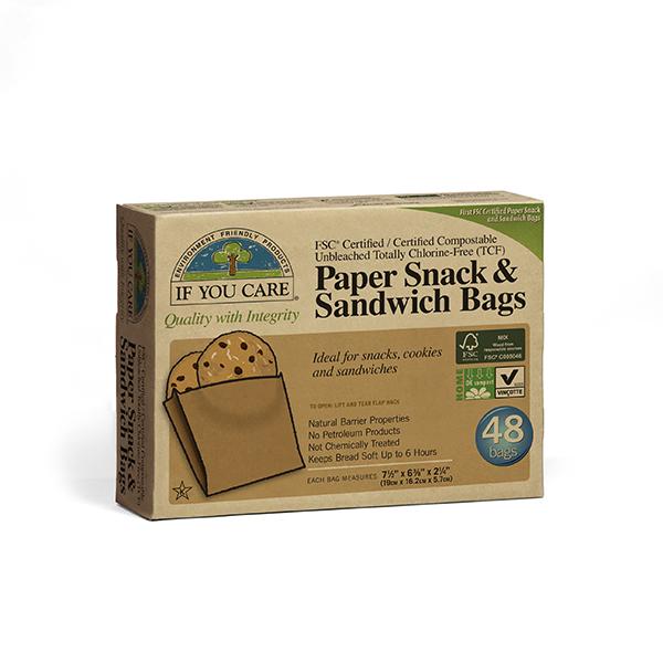 《訳あり》無漂白スナック&サンドイッチバッグ(48枚入り)画像