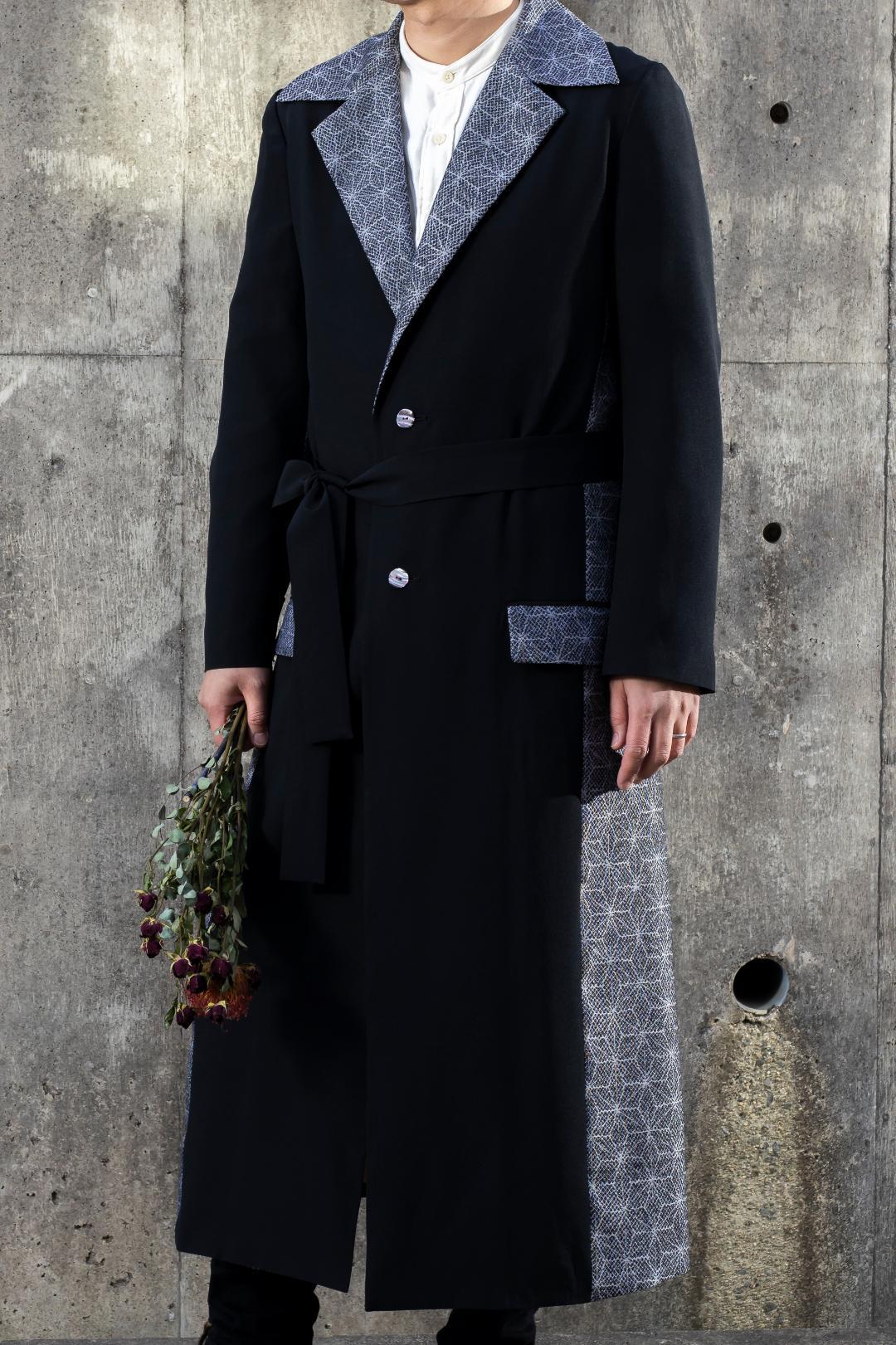 【受注商品】 Men's衿付きロングコート(リボン付き)画像