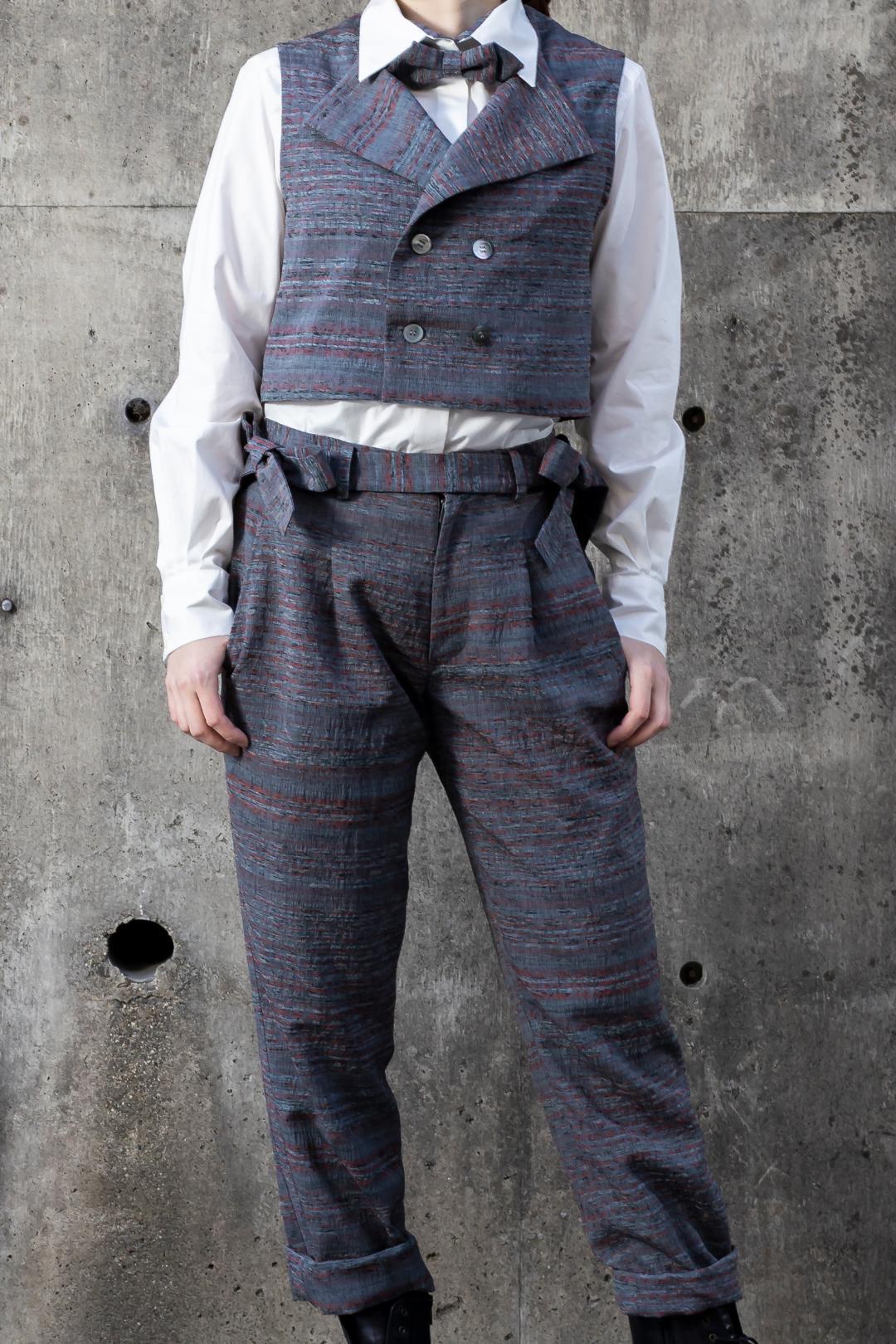 【受注商品】 ノースリーブショートダブルジャケット+サスペンダー付きワンタックパンツ画像
