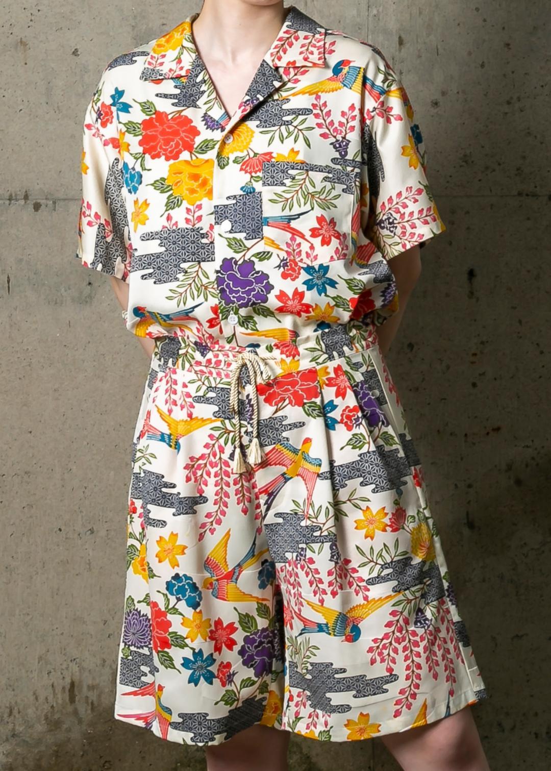 【受注商品】 半袖開襟シャツ+ドロストショートパンツ画像
