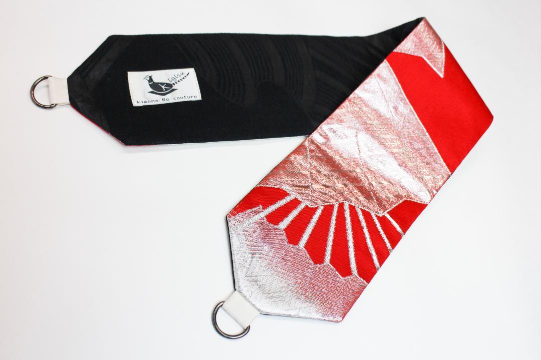 【既製商品】リバーシブル簡易帯 紅白×黒画像