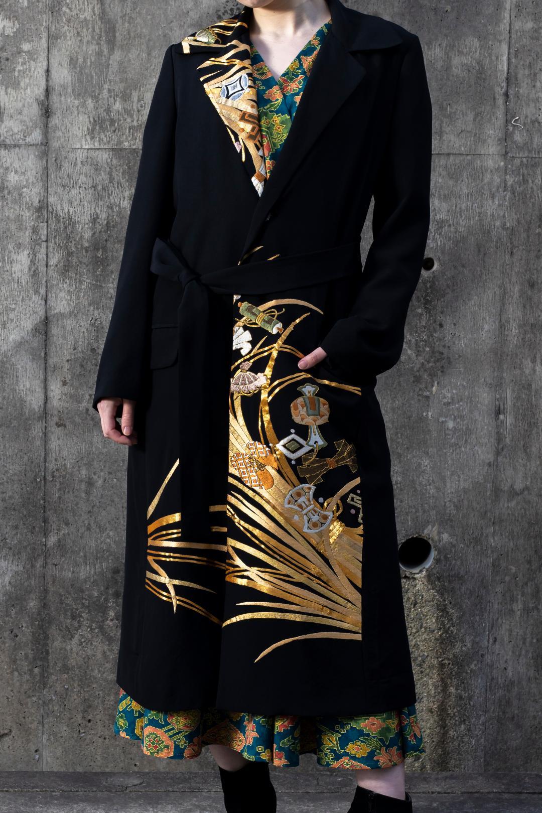【受注商品】 衿付きロングコート(リボン付き)画像