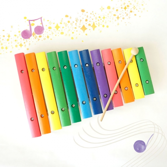 【アウトレット】カラフルな木琴おもちゃ シロフォン画像