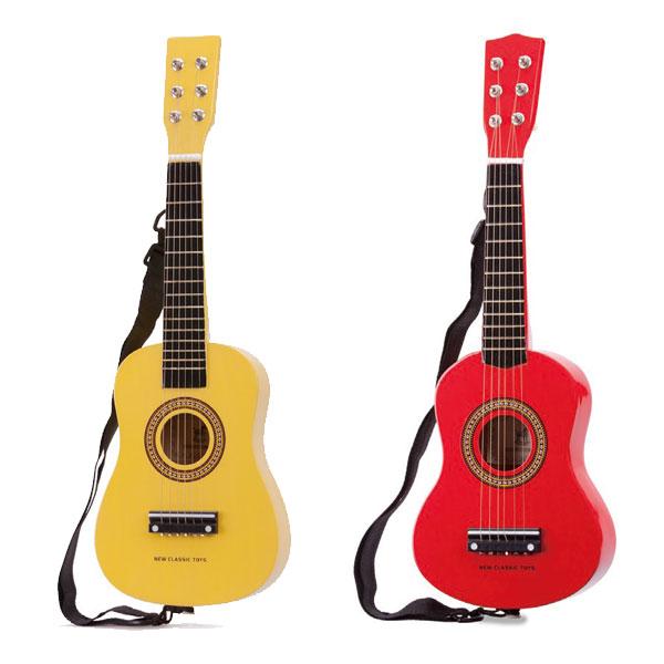 ポップなカラーが愛らしい本格的ギターのおもちゃ 代えの絃付き画像
