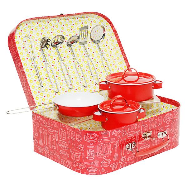 赤いヴィンテージ風キッチンツールセット おしゃれなボックスケース付の画像