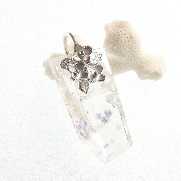 フローライトインクォーツの小花飾りペンダント画像