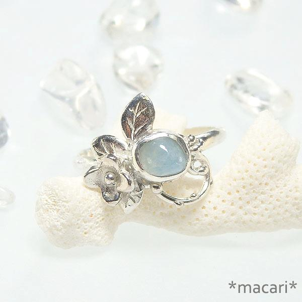 糸魚川産 青翡翠の小花飾りリング 12号の画像