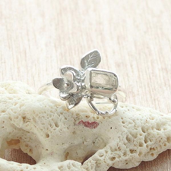 フェナカイト原石の小花飾りリング 13号の画像