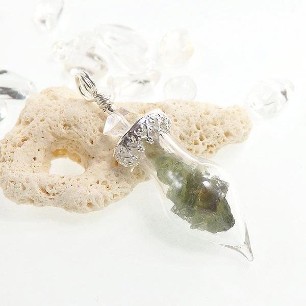モルダバイト原石のボトルペンダント(ハーキマー付き)の画像