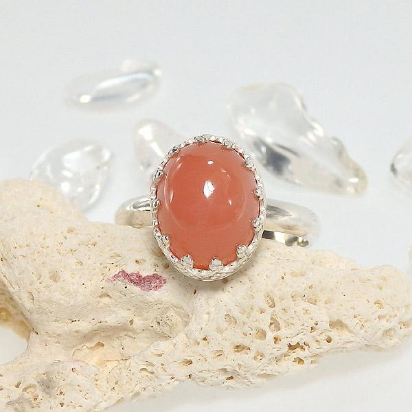 オレンジムーンストーンの飾り枠リング 12号画像