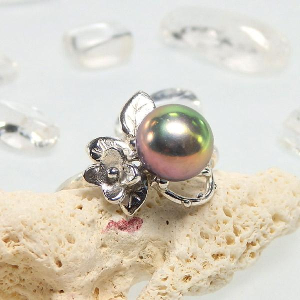 淡水パールの小花飾りリング(メタリック) 12号画像