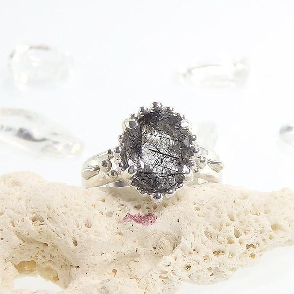 ブラックトルマリンインクォーツの粒飾りリング 12号の画像