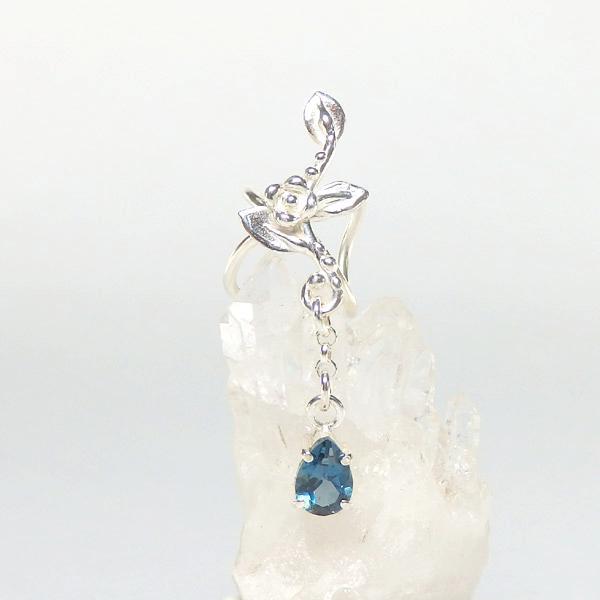 ロンドンブルートパーズの蔓飾りイヤーカフ ショートタイプ(右耳用)画像