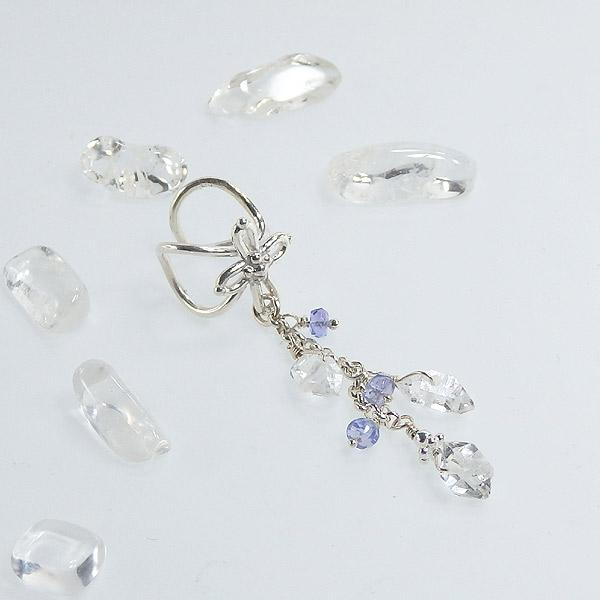 ハーキマーダイヤモンドとタンザナイトのクロスイヤーカフの画像