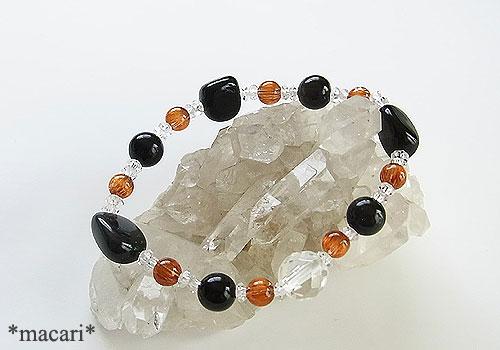 オブシディアン オレンジルチルクォーツ スキャポライト ブレスレット の画像