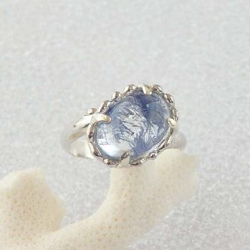 デュモルチェライトinクォーツの粒飾りリング (ナナメ)9.5号の画像