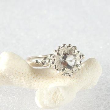 ハーキマーダイヤモンドの粒飾りリング 10号の画像