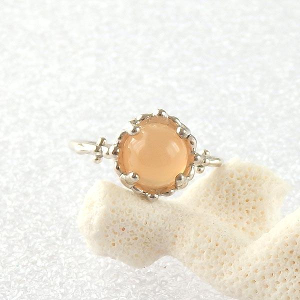 オレンジムーンストーンの粒飾りリング 10.5号の画像