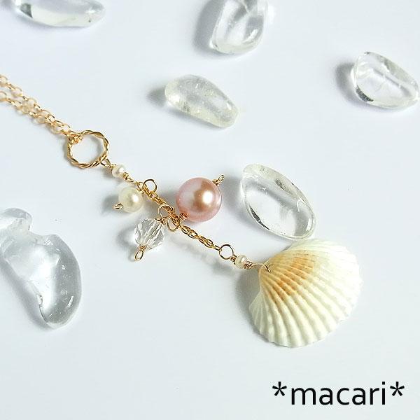 白い貝殻と淡水パールのネックレス k14GFの画像