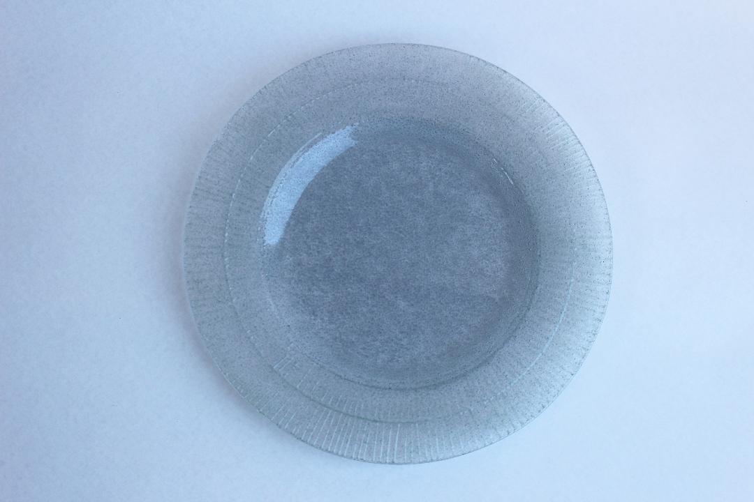 オオタ硝子研究室 リム中皿ブルーグレー画像