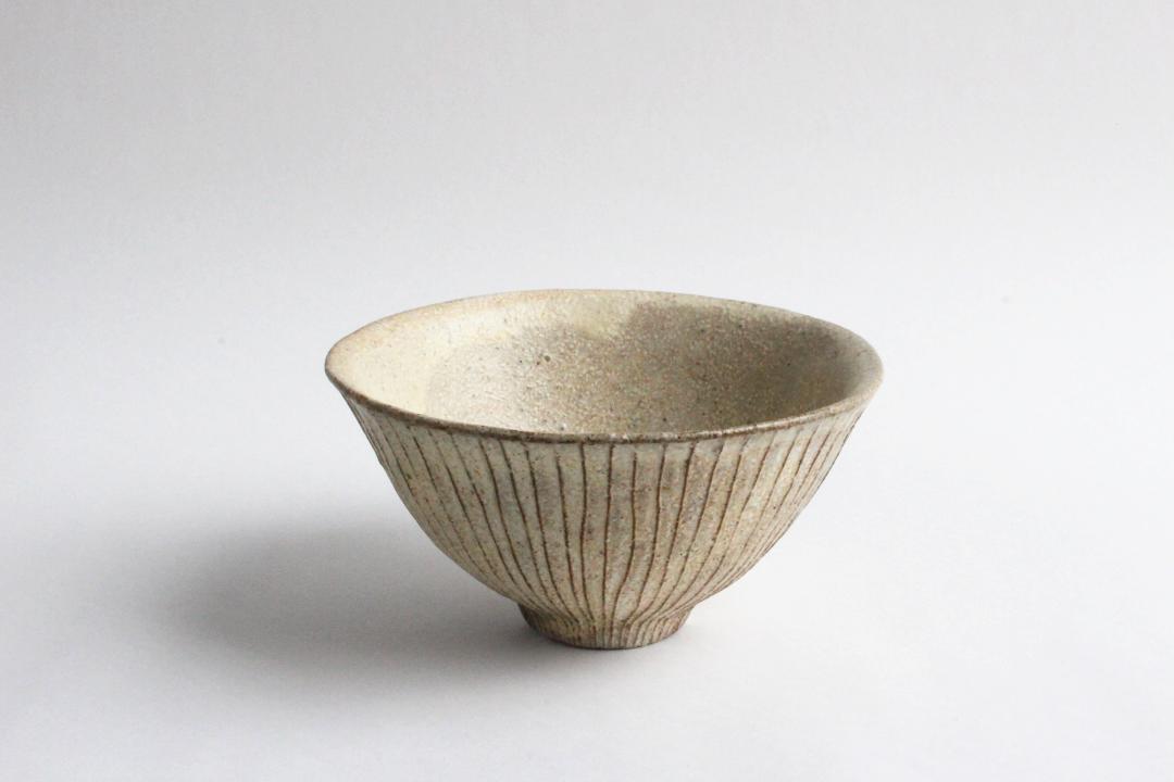鈴木進 粉引線紋 飯茶碗画像