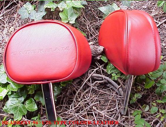 ヘッドレスト・Sタイプシート用・レザー・レッド・CATERHAM ロゴ型押し・1996年以降画像