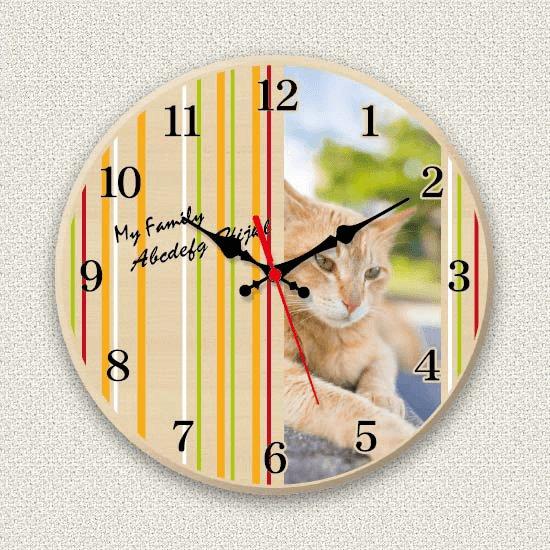 ペットのお写真からつくる!オリジナル時計 カラフルストライプ画像